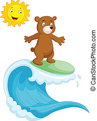 Happy brown bear cartoon surfing