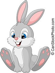 Happy bunny cartoon isolated on whi