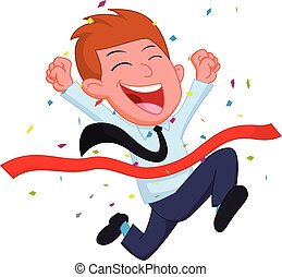 Happy Businessman cartoon running at the finish line