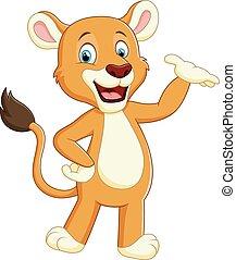 Happy carton lion posing - vector illustration of Happy...
