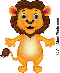 Happy carton lion posing