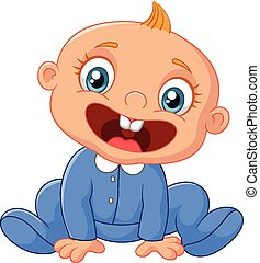 Happy cartoon baby boy - Vector illustration of Happy...
