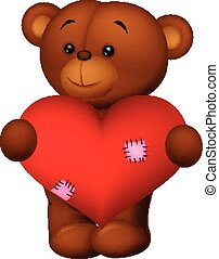 Happy cartoon bear holding heart