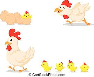 Happy cartoon chicken family