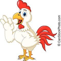 Happy cartoon chicken thumb up