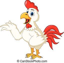Happy cartoon chicken waving