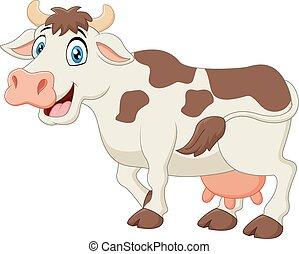 Happy cartoon cow - vector illustration of Happy cartoon cow