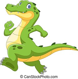 Happy cartoon crocodile running fast