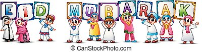 Happy cartoon kid celebrate Eid Mubarak