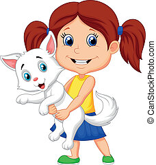 Vector illustration of Happy cartoon little girl hugging her pet
