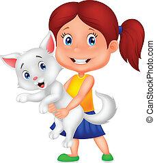 Happy cartoon little girl hugging h