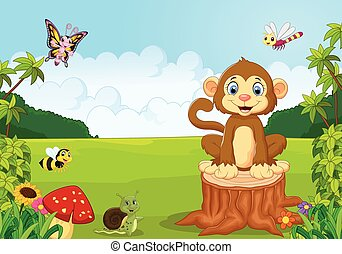 Happy cartoon monkey in the forest