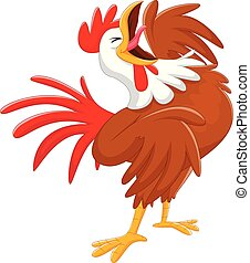 Happy cartoon rooster crowing