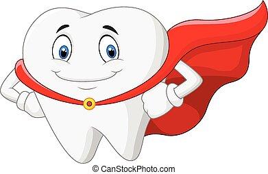 Vector illustration of Happy cartoon superhero healthy tooth