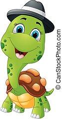 Happy cartoon turtle wearing cap