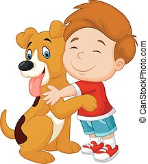 Vector illustration of Happy cartoon young boy lovingly hugging his pet dog