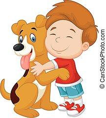 Happy cartoon young boy lovingly hu - Vector illustration of...