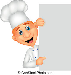 Happy chef cartoon holding blank si - Vector illustration of...