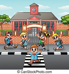 Happy children crossing the road