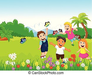 happy children playing with butterflies in the forest