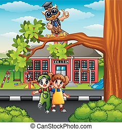 Happy children with owl on street tree branch