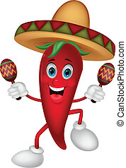 Vector illustration of Happy chili pepper cartoon dancing with maracas