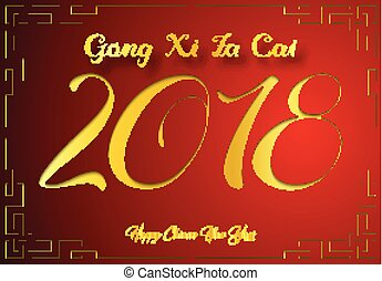 Gong xi fa cai greeting card clipart and stock illustrations 106 happy chinese new year card with 2018 gold number gong xi m4hsunfo