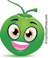 Happy Coconut Mascot - Vector Illustration of Happy Coconut...