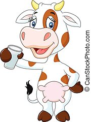 Happy cow animal holding glass - Vector illustration of...