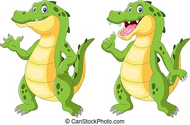 Happy crocodile standing and waving hand