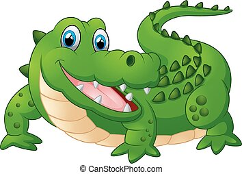 happy crocodille cartoon - vector illustration of happy...