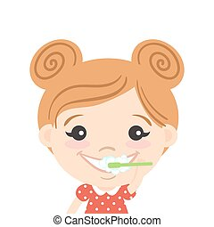 Vector illustration of happy cute girl cleaning her teeth...