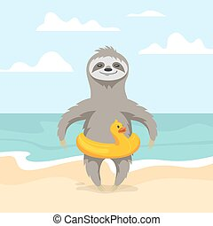 Vector illustration of happy cute sloth on the beach. Summer vacation. Yellow duck inflatable circle. Vector print for t-shirt or poster design.