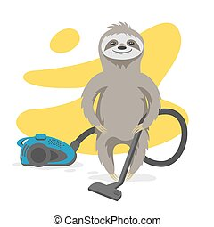 Vector illustration of happy cute sloth that makes cleaning with a vacuum cleaner.