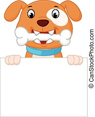 Happy dog cartoon with bone