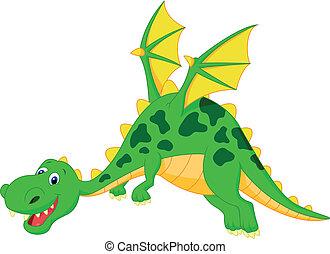 Happy dragon cartoon flying - Vector illustration of Happy...