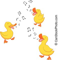 Happy duck singing