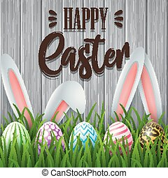 Happy Easter background with colored eggs and ears bunny in the grass on wooden background