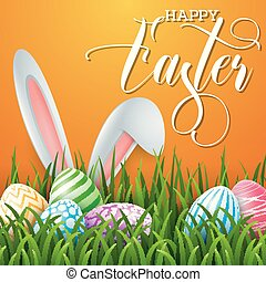 Happy Easter background with colored eggs and ears bunny in the grass on orange background