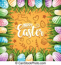 Happy Easter background with colored eggs in the grass on cute doodle background