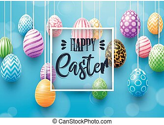 Happy Easter card with colored eggs decorated on blue background