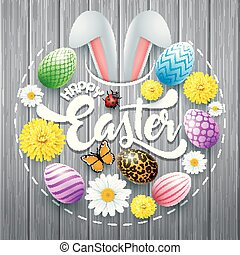 Happy Easter card with colored eggs, flowers, bunny ears and insect in round shapes on wood background
