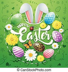 Happy Easter card with colored eggs, flowers, bunny ears, insect and cute doodles in round shapes on green background