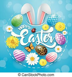 Happy Easter card with colored eggs, flowers, bunny ears, insect in round shapes on blue background