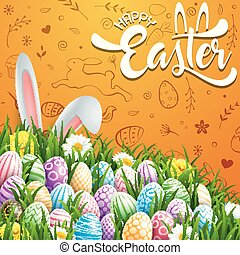 Happy Easter greeting card with colored eggs, flowers and bunny ears on cute doodles background