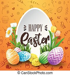 Happy Easter greeting card with colored eggs, flowers, on doodle cute background