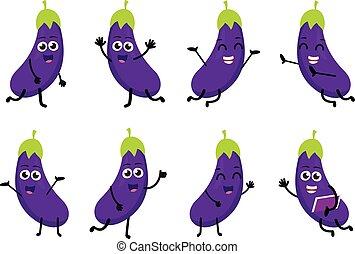 Happy Eggplant cartoon character