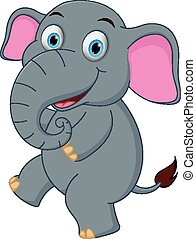 Happy Elephant cartoon dancing
