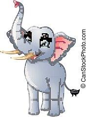 Happy elephant cartoon isolated on white background