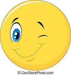 Happy emoticon cartoon with eye